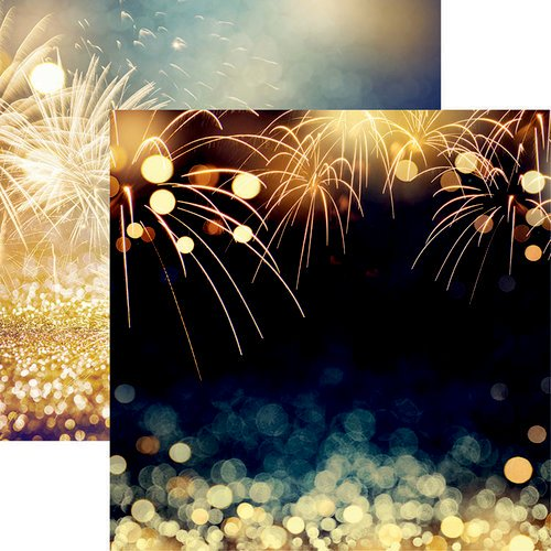 Golden Fireworks 12x12 Double Sided Scrapbooking Paper