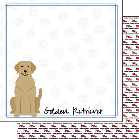 Golden Retriever 12x12 Double Sided Scrapbooking Paper