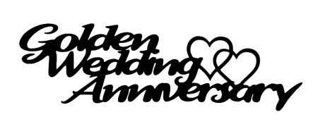 Golden Wedding Anniversary Scrapbooking Laser Cut Title with Hearts