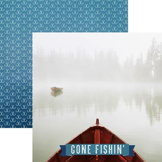 Gone Fishing 12x12 Double Sided Scrapbooking Paper