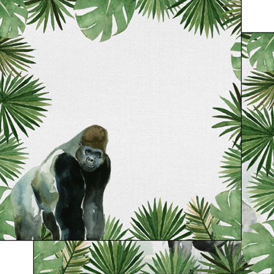 Gorilla Safari 12x12 Double Sided Scrapbooking Paper