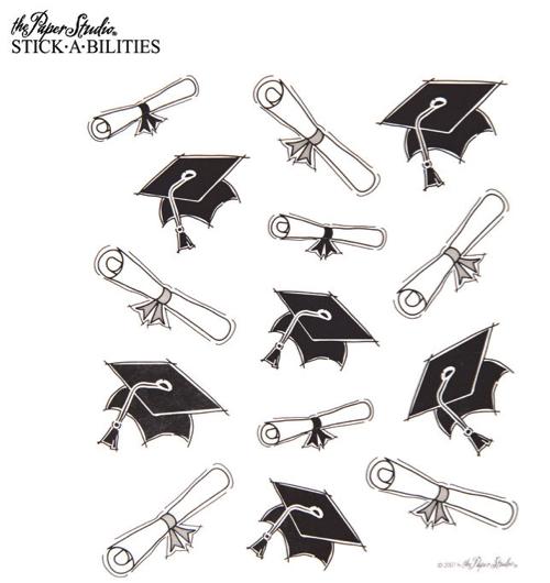 Graduation Caps and Scrolls Scrapbooking Stickers - 2 Sheets