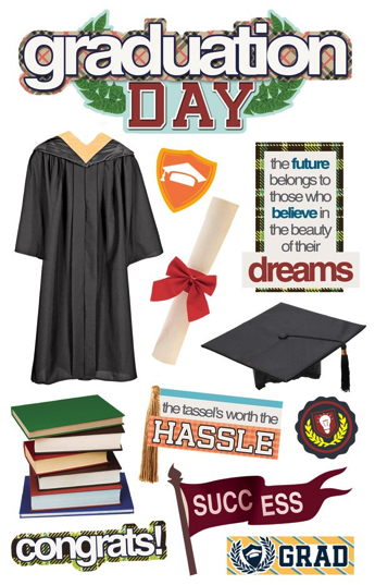 Graduation Day 3D Scrapbooking Stickers