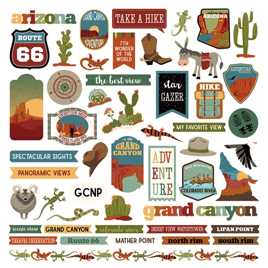 Grand Canyon 12x12 Cardstock Scrapbooking Stickers