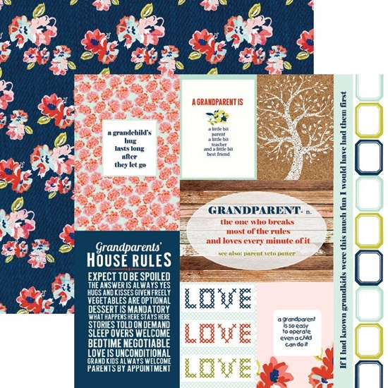 Grandparents Tags 12x12 Double Sided Scrapbooking Paper