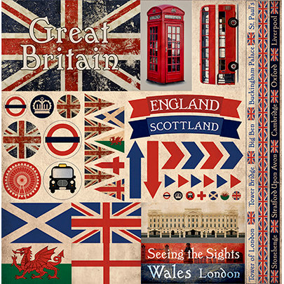 Great Britain 12x12 Cardstock Scrapbooking Stickers and Borders
