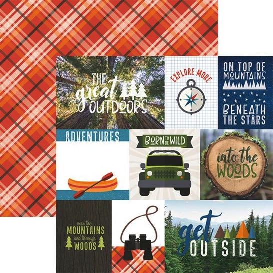 Great Outdoors Tags 12x12 Double Sided Scrapbooking Paper