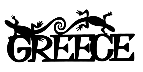 Greece Scrapbooking Laser Cut Title with Geckos
