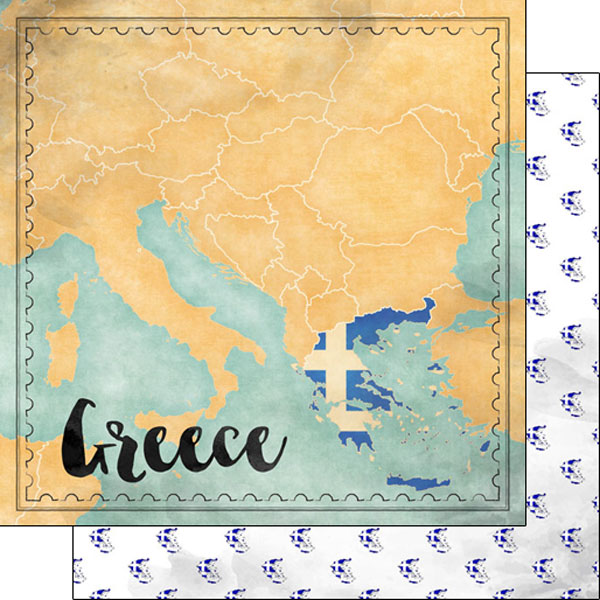 Greece Sights Map 12x12 Double Sided Scrapbooking Paper