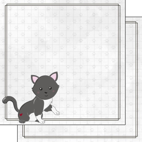 Grey Cat 12x12 Double Sided Scrapbooking Paper