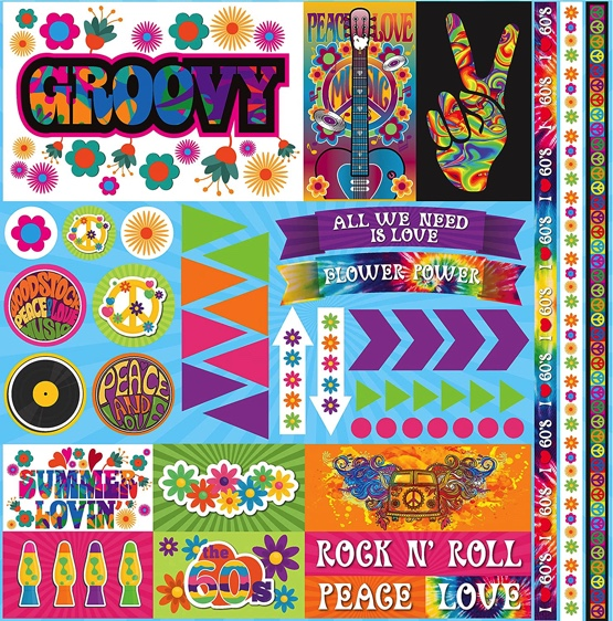 Groovy 12x12 Cardstock Scrapbooking Stickers and Borders