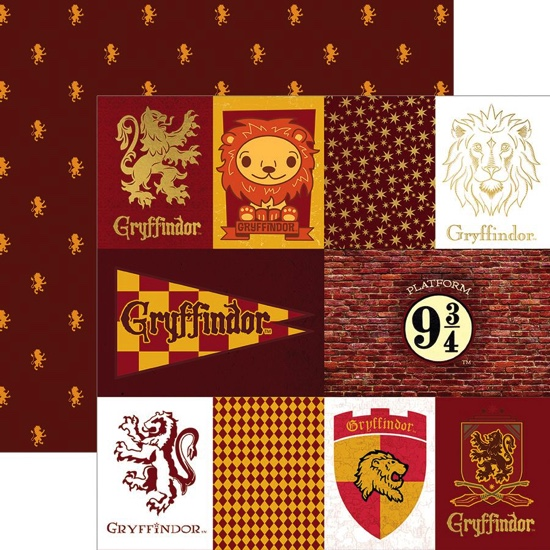 Gryffindor Tags 12x12 Double Sided Scrapbooking Paper with Foil