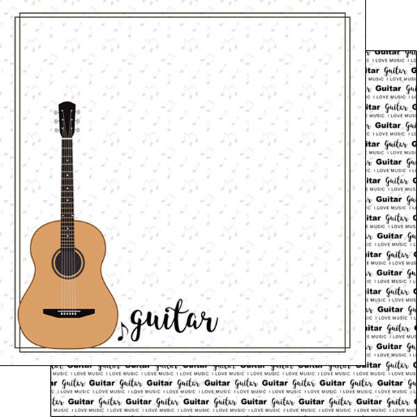 Guitar 12x12 Double Sided Scrapbooking Paper