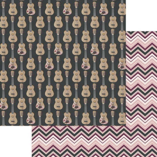 Guitars 12x12 Double Sided Scrapbooking Paper