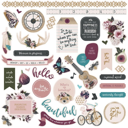 Gypsy Rose 12x12 Cardstock Scrapbooking Stickers
