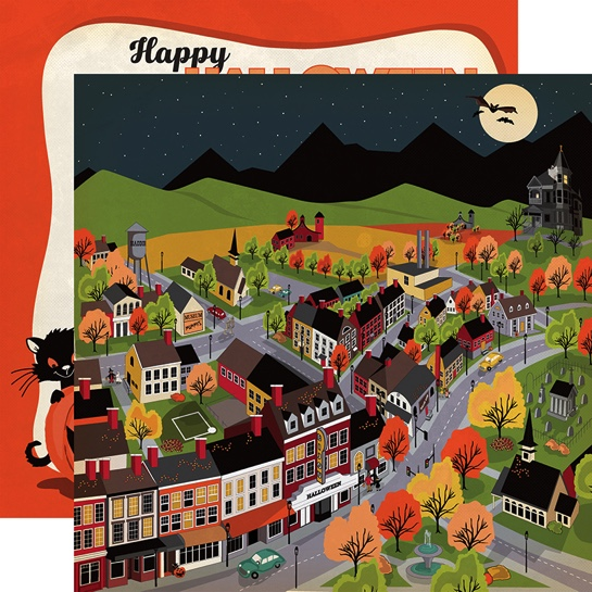 Halloween Town Double Sided 12x12 Scrapbooking Paper