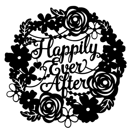 Happily Ever After Flower Frame Intricate Scrapbooking Laser Cut