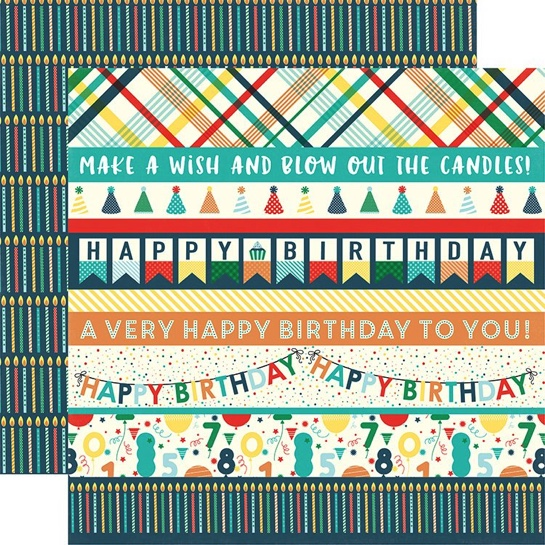 Happy Birthday Border Strips Double Sided 12x12 Scrapbooking Paper