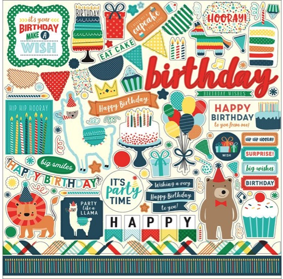 Happy Birthday Boy 12x12 Cardstock Scrapbooking Stickers