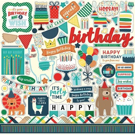 Happy Birthday 12x12 Cardstock Scrapbooking Stickers