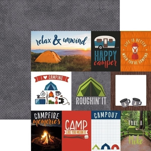 Happy Camping Tags 12x12 Double Sided Scrapbooking Paper