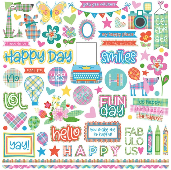 Happy 12x12 Cardstock Scrapbooking Stickers