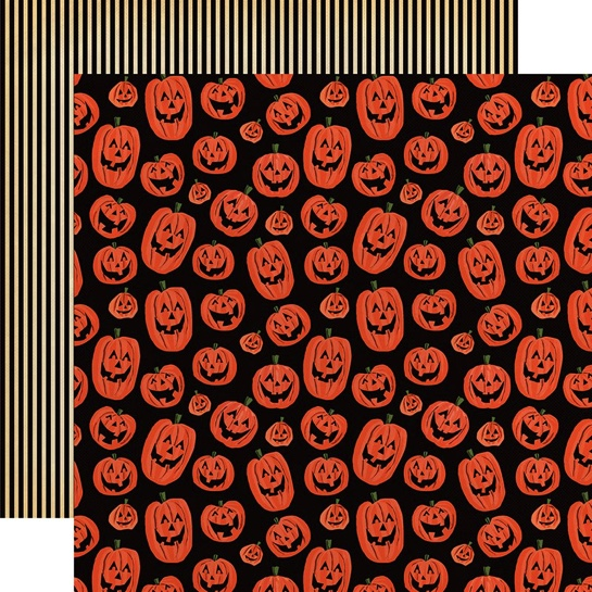 Happy Halloween Pumpkins 12x12 Double Sided Scrapbooking Paper