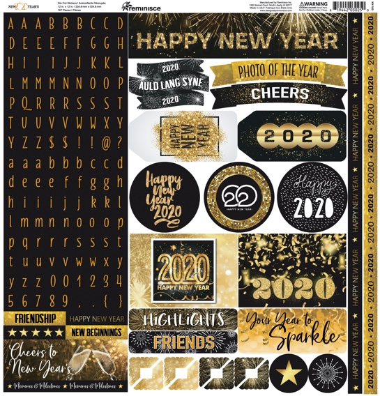 Happy New Year 2020 12x12 Cardstock Scrapbooking Stickers Borders and Alphabet