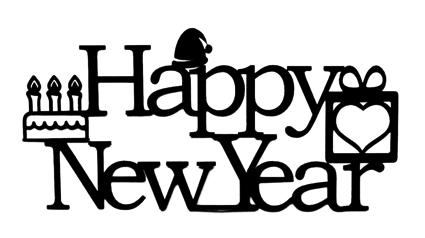 Happy New Year Scrapbooking Laser Cut Title with Icons