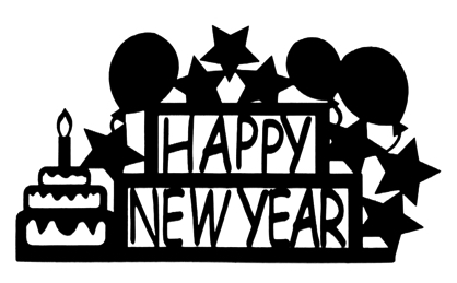Happy New Year Scrapbooking Laser Cut Title with Balloons and Stars