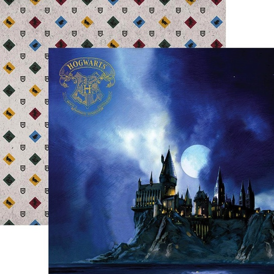 Hogwarts at Night 12x12 Double Sided Scrapbooking Paper with Foil