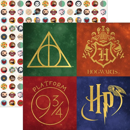 Harry Potter Icons 12x12 Double Sided Scrapbooking Paper with Foil