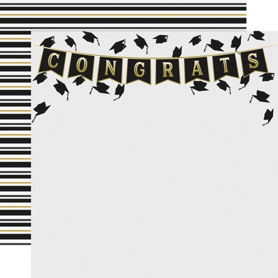 Graduation Hats Off Double Sided 12x12 Scrapbooking Paper