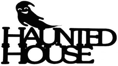 Haunted House Scrapbooking Laser Cut Title with Ghost