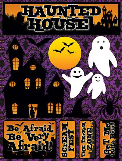 Haunted House 3D Scrapbooking Stickers