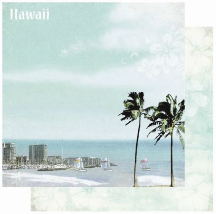 Hawaii 12x12 Double Sided Glittered Scrapbooking Cardstock