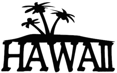 Hawaii Scrapbooking Laser Cut Title with Palm Trees