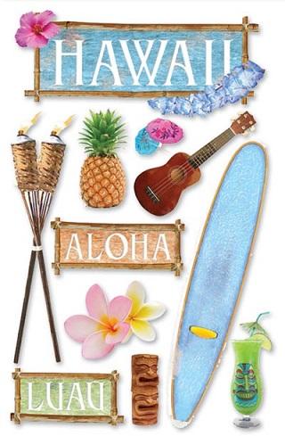 Hawaii 3D Glitter Scrapbooking Stickers
