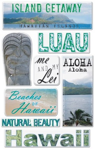 Hawaii Epoxy Scrapbooking Stickers