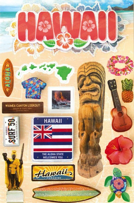 Hawaii 3D Destinations Scrapbooking Stickers