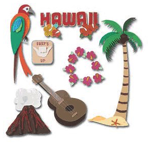 Hawaii Jolees 3D Scrapbooking Stickers