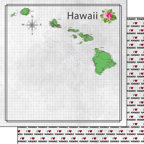 Hawaii Map 12x12 Double Sided Scrapbooking Paper
