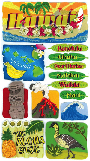 Hawaii Jolees 3D Large Scrapbooking Stickers