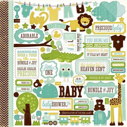 Heaven Sent Baby Boy 12x12 Cardstock Scrapbooking Stickers