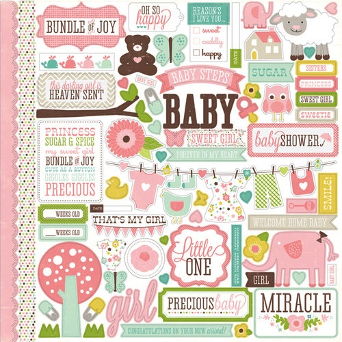 Heaven Sent Baby Girl 12x12 Cardstock Scrapbooking Stickers