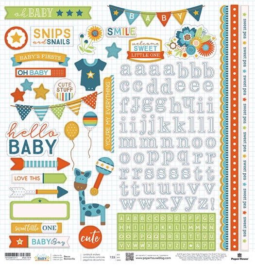 Hello Baby Boy 12x12 Cardstock Scrapbooking Stickers and Borders