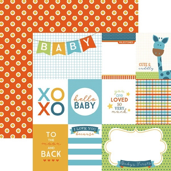 Hello Baby Boy Tags 12x12 Double Sided Scrapbooking Paper