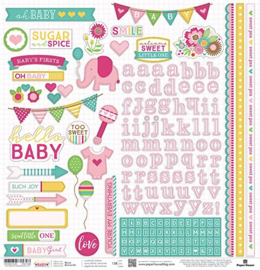 Hello Baby Girl 12x12 Cardstock Scrapbooking Sticker and Borders