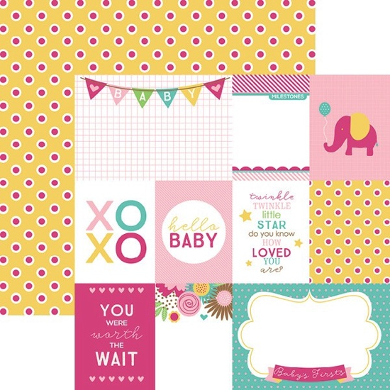 Hello Baby Girl Tags 12x12 Double Sided Scrapbooking Paper
