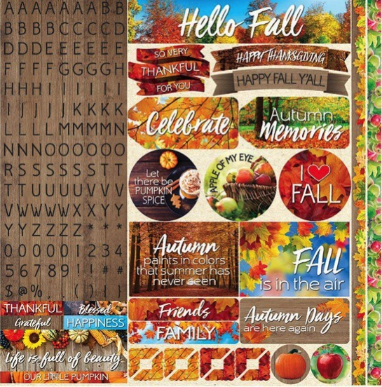 Hello Autumn 12x12 Cardstock Scrapbooking Stickers Borders and Alphabet